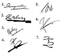 Подписи Бонапарта Наполеона, которые видоизменялись в течение жизни.